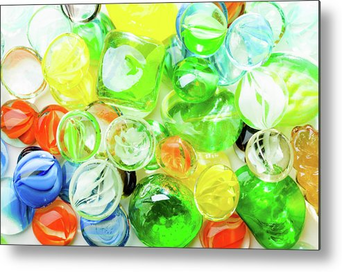 Abstract Metal Print featuring the photograph Colored Glass Beads On White Background by Alain De Maximy