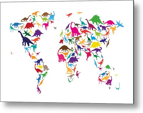 World Map Metal Print featuring the digital art Dinosaur Map Of The World Map by Michael Tompsett