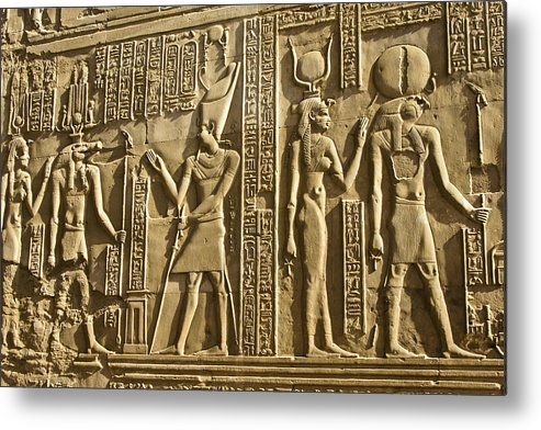 Egypt Metal Print featuring the photograph Egyptian Temple Art by Michele Burgess