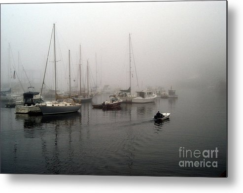 Ships Metal Print featuring the photograph Foggy Camden Harbor by Neil Doren