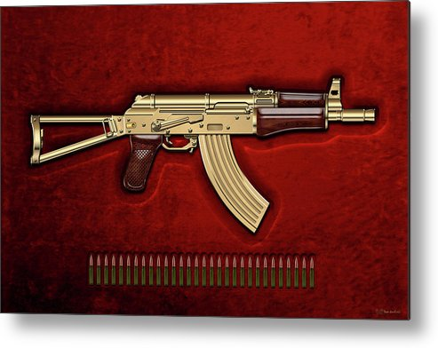 'the Armory' Collection By Serge Averbukh Metal Print featuring the photograph Gold A K S-74 U Assault Rifle With 5.45x39 Rounds Over Red Velvet  by Serge Averbukh