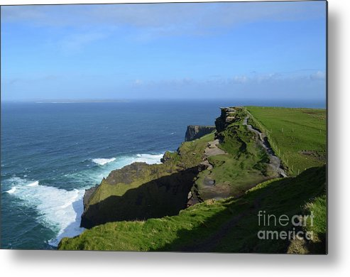 Grass Metal Print featuring the photograph Green Grass On The Sea Cliff's In Ireland by DejaVu Designs