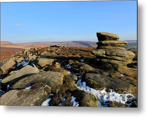 Gritstone Rocks Metal Print featuring the photograph Gritstone Rocks On Hathersage Moor, Derbyshire County by Dave Porter