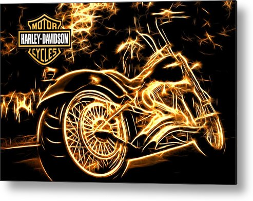 Harley-davidson Metal Print featuring the photograph Harley-davidson by Aaron Berg