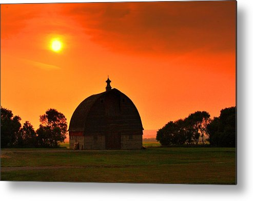 Harvest Sunset Metal Print featuring the photograph Harvest Sunset by David Matthews