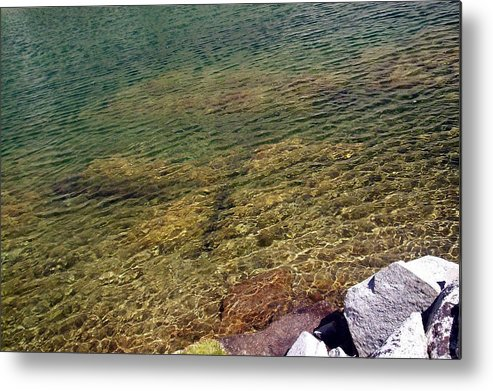 Water Waterscape Rocks Photo Photograph High Sierras Metal Print featuring the photograph High Sierras Treasure Lakes Vii by Sarah Stiles
