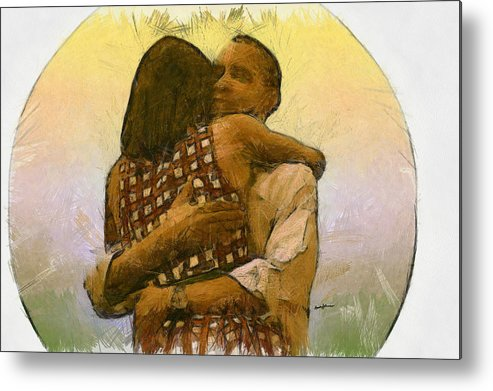 Portrait Metal Print featuring the drawing In Love by Anthony Caruso