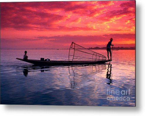 73-csm0075 Metal Print featuring the photograph Inle Lake Fisherman by Gloria & Richard Maschmeyer - Printscapes