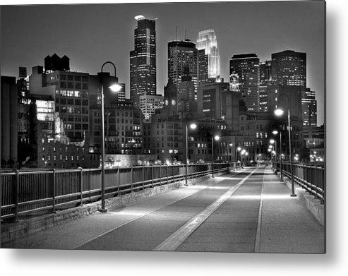 Minneapolis Skyline Metal Print featuring the photograph Minneapolis Skyline From Stone Arch Bridge by Jon Holiday