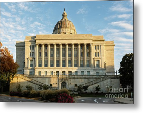 Capital State Capital Missouri State Capital Government State Government Landscape Sky Clouds Trees Fall Fall Foliage Terri Morris Photography Fine Art Photography Wall Art Office D�cor Photography Metal Print featuring the photograph Missouri State Capital by Terri Morris