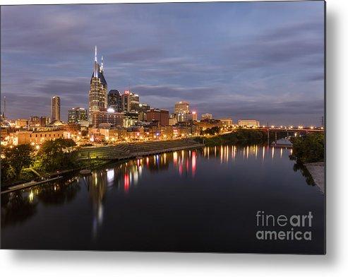 Nashville Skyline Metal Print featuring the photograph Nashville Tennessee Skyline Sunrise by Jeremy Holmes