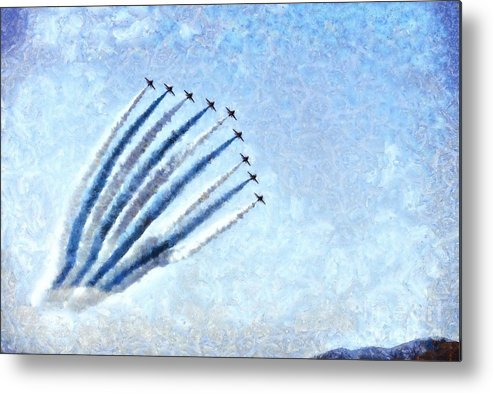 Fly Metal Print featuring the painting Painting Of Red Arrows Aerobatic Team by George Atsametakis