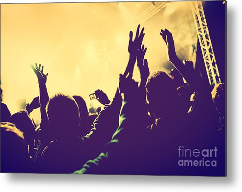 Concert Metal Print featuring the photograph People With Hands Up In Night Club by Michal Bednarek