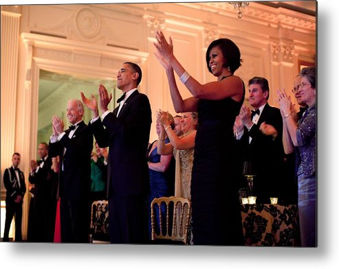 History Metal Print featuring the photograph President And Michelle Obama Applaud by Everett