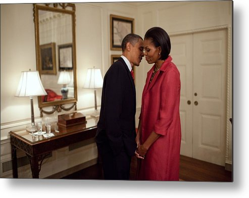 History Metal Print featuring the photograph President And Michelle Obama Wait by Everett
