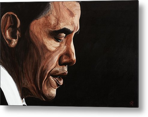 Portrait Metal Print featuring the painting President Barack Obama Portrait by Patty Vicknair