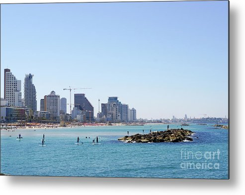 Blue Metal Print featuring the photograph Sailboats In The Mediterranean Sea by Vladi Alon