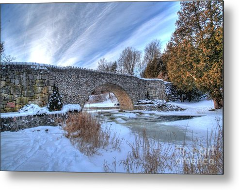 Ice Bridge Snow Winter Landscape Cold Metal Print featuring the photograph Stone Bridge At Webster Falls by Desmond Bell