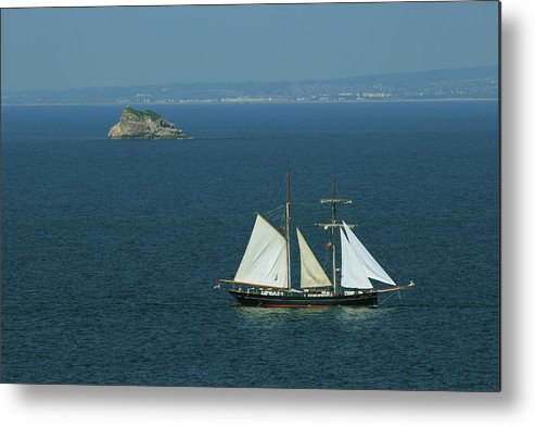 Torbay Tall Ships Metal Print featuring the photograph Tall Ship Passing Thatcher's Rock, Torbay by Tom Wade-West