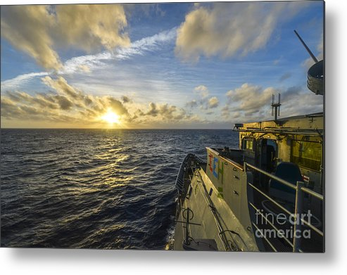 The Guided-missile Cruiser Uss Monterey (cg 61) Transits The Atlantic Ocean Metal Print featuring the painting The Guided-missile Cruiser Uss Monterey by Celestial Images