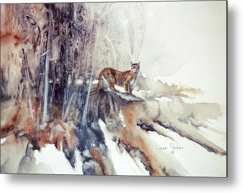 Cougar Metal Print featuring the painting Vantage Point by Lynne Parker