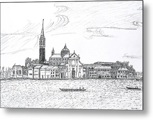 Venice Metal Print featuring the drawing Venice Italy by Monica Engeler