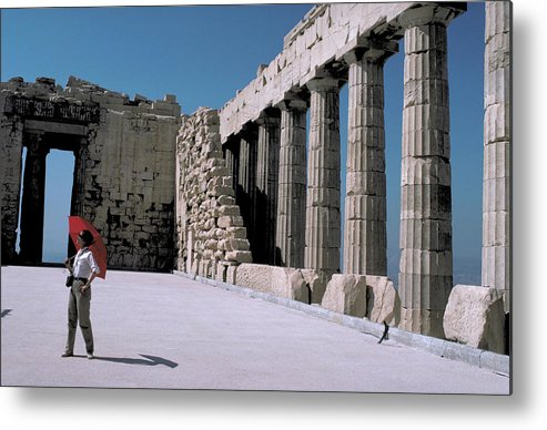 Woman Metal Print featuring the photograph Woman At The Parthenon In Athens by Carl Purcell