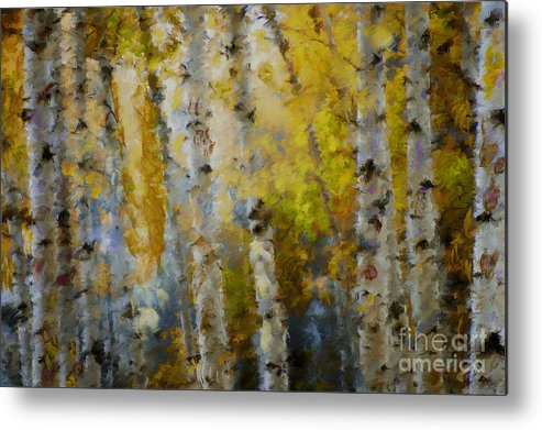 Aspens Metal Print featuring the mixed media Yellow Aspens by Marilyn Sholin