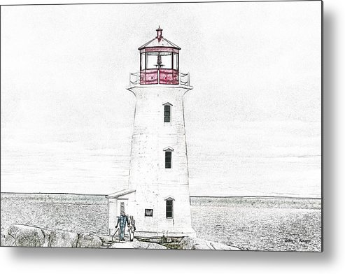 Lighthouse Metal Print featuring the mixed media You're My Beacon Peggy's Cove Lighthouse by Betsy Knapp