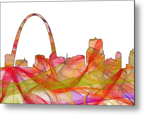 St Louis Missouri Skylineskyline Metal Print featuring the digital art St Louis Missouri Skyline by Marlene Watson