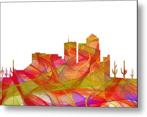 Tucson Arizona Skyline Metal Print featuring the digital art Tucson Arizona Skyline by Marlene Watson
