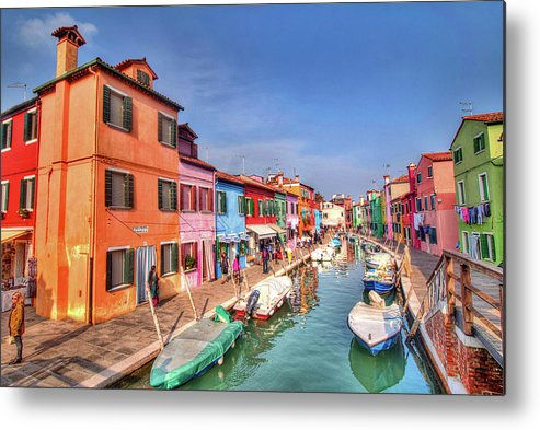 Burano Venice Italy Metal Print featuring the photograph Burano Venice Italy by Paul James Bannerman