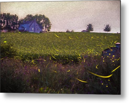 Fireflies Metal Print featuring the photograph 1300 - Fireflies Impression Version by Seth Dochter
