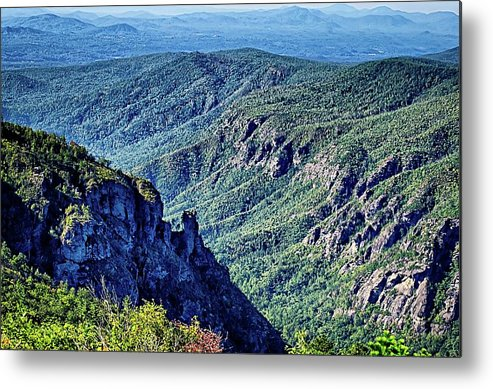Mountain Metal Print featuring the photograph Hawksbill Mountain At Linville Gorge With Table Rock Mountain La by Alex Grichenko