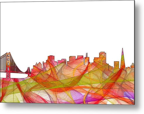 San Francisco California Skyline Metal Print featuring the digital art San Francisco California Skyline by Marlene Watson