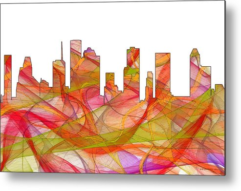 Houston Texas Skylineskyline Metal Print featuring the digital art Houston Texas Skyline by Marlene Watson