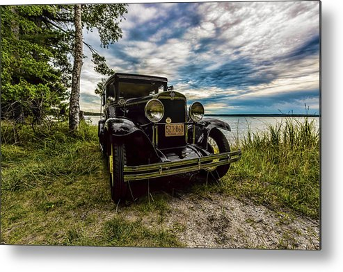 Higgins Lake Metal Print featuring the photograph 1930 Chevy On The Shore Of Higgins Lake by Joe Holley