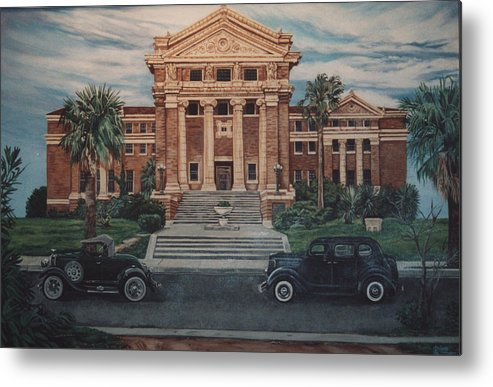 Architecture Metal Print featuring the painting 1936 Era Nueces County Courthouse by Diann Baggett