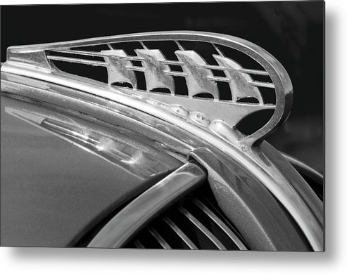 1938 Plymouth Metal Print featuring the photograph 1938 Plymouth Hood Ornament 2 1938 by Jill Reger