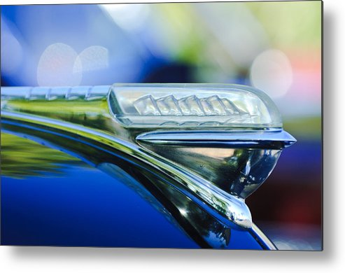 1948 Plymouth Metal Print featuring the photograph 1948 Plymouth Hood Ornament by Jill Reger