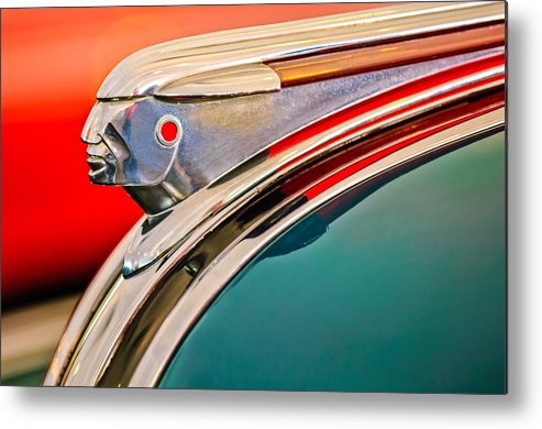 1948 Pontiac Streamliner Metal Print featuring the photograph 1948 Pontiac Chief Hood Ornament by Jill Reger