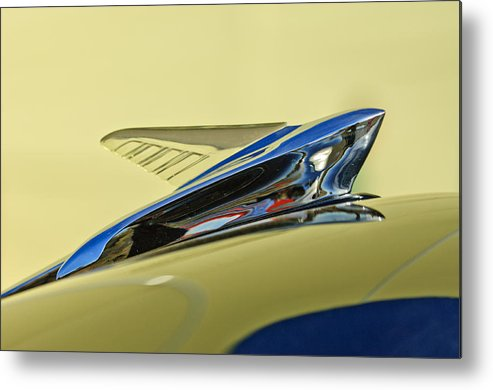 1951 Ford Metal Print featuring the photograph 1951 Ford Hood Ornament 2 by Jill Reger