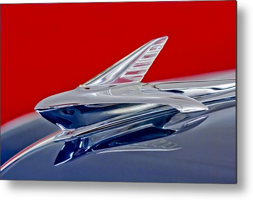 1951 Ford Woodie Metal Print featuring the photograph 1951 Ford Woodie Hood Ornament by Jill Reger