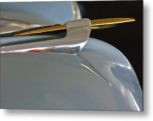 1953 Lincoln Capri Metal Print featuring the photograph 1953 Lincoln Capri Hood Ornament 2 by Jill Reger