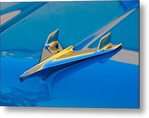 1956 Chevrolet Metal Print featuring the photograph 1956 Chevrolet Hood Ornament 2 by Jill Reger