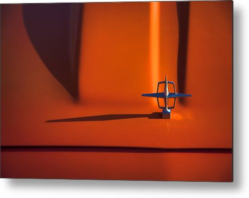 Lincoln; Continental; Orange; Classic Metal Print featuring the photograph 1964 Lincoln Continental Hood Ornament by Carol Leigh