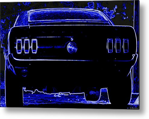 Mustang Metal Print featuring the photograph 1969 Mustang In Neon 2 by Susan Bordelon