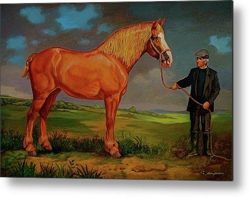 Belgian Draft Horse Irish Green Country. Metal Print featuring the painting Belgian Draft Horse. by Alan Carlson