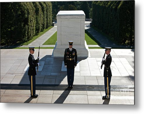 Horizontal Metal Print featuring the photograph Changing Of Guard At Arlington National by Terry Moore