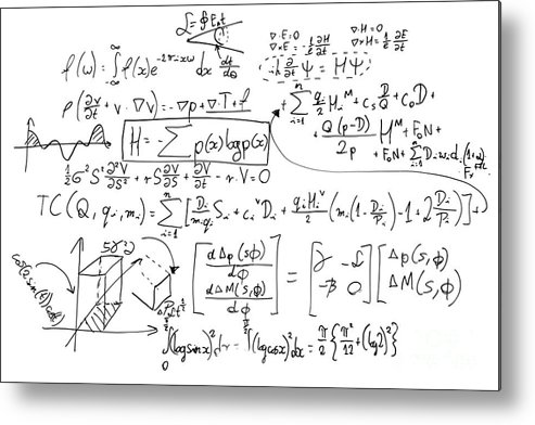 Complex Math Formulas On Whiteboard  Mathematics And Science With Economics  Metal Print